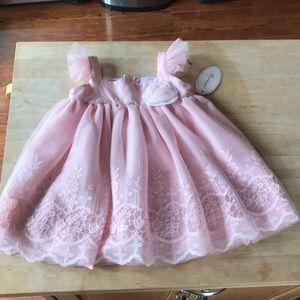 Miniclasix baby girl Sz 12 mon pink dress-NWTS